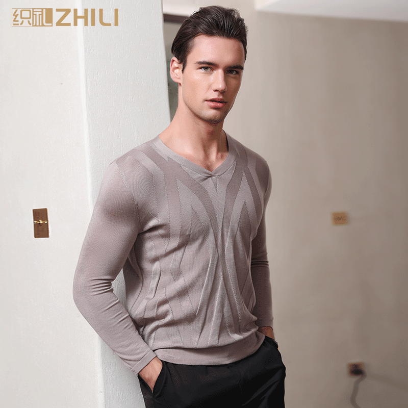 ZHILI Spring Long Sleeve V-Neck Casual Regular Men's T-Shirt