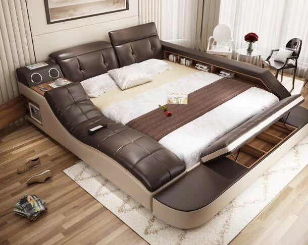 Bedroom:  real genuine leather bed with massage /double beds frame king/queen size bedroom furniture camas modernas muebles de dormitorio - Martin's & Co