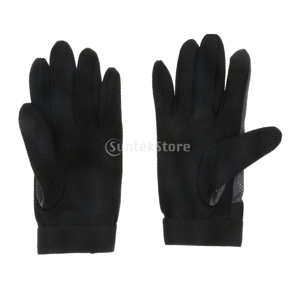 Stretchable Pimple Palm Competition Horse Riding Equestrian Grip Gloves Black S Equestrian Gloves