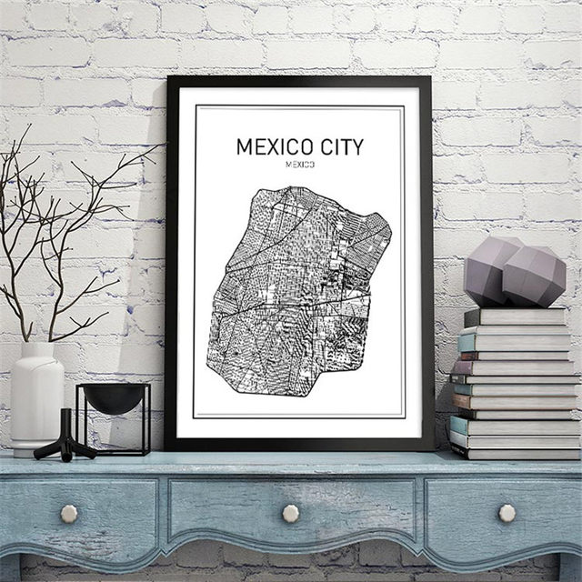black white art map world city canvas art painting poster new york city wall picture for home decoration yt0026