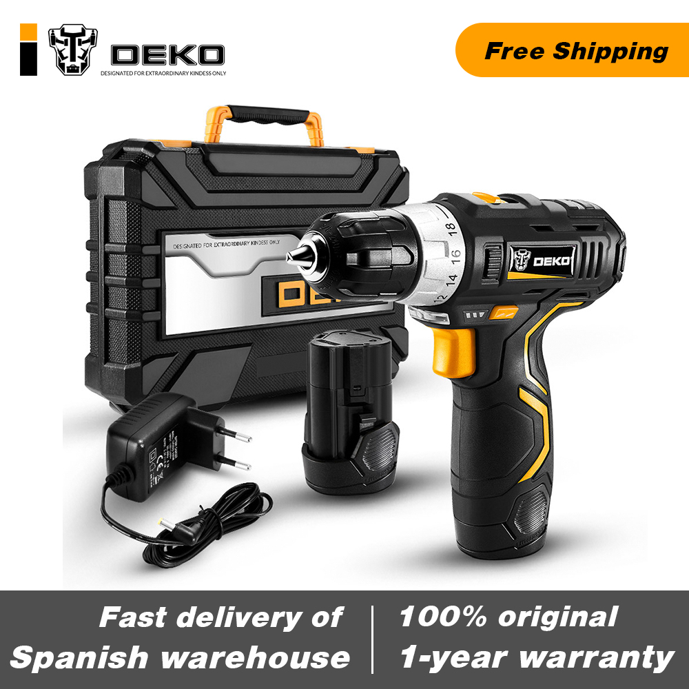Original DEKO GCD12DU3 12V MAX Cordless Drill Electric Screwdriver Lithium-Ion Mini Power Tools Variable Speed With LED Light