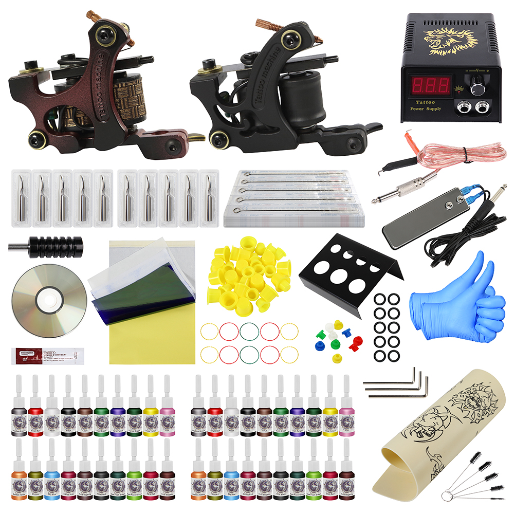 Complete Tattoo Kits 40 Tattoo Inks Set With 1 Liner 1 Shader Tattoo Machine Guns Power Supply Disposable Needle Teaching CD disposable tattoo tube with needle combo mixed 40 piece