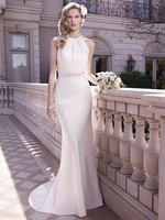 Don S New 2017 Sheath Wedding Dresses Halter Keyhole Back Bridal Gowns Ribbon Sash Vestisods De