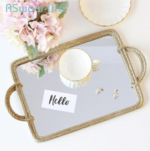 Creative Resin Mirror Tray Cosmetic Storage Tray Retro Rectangular Storage Mirror Shooting Props Serving Tray For Home retro household rectangular tea fruit tray jewelry luxury resin mirror beauty salon spa essential oil tray serving trays