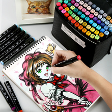 marker pen set anime student with design alcohol oily beginner painting markers color pen 30/40/60/80 color art supplies durable three generations of pen set double head alcohol oily 60 80 color marker not