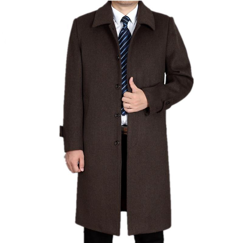 Thickening gray Veste Cachemire Black 4xl De Pour Taille 2018 Hommes coffee black En Long gray Épaississement Chaud Zz048 Homme Hiver Outwear Laine Thickening Parkas Grande Manteau wRRW04FOT