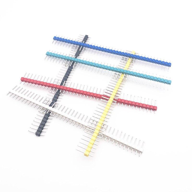 120pcs/lot 2.54mm Green+White+Red+Yellow+Blue+Black Single Row Male 1X40 1*40 Pin Header Strip