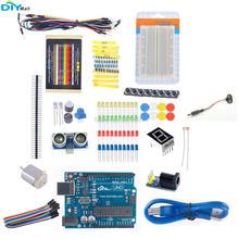 цена на DIYmall Starter Learning Kit UNO R3 Board Breadboard Jumper Wire Ultrasonic Module Resistor for Arduino