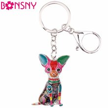 Bonsny Enamel Chihuahuas Dog Key Chain Key Ring Pom Gift For Women Girl Bag Pendant 2017 New Charm Key chain Fashion Jewelry(China)