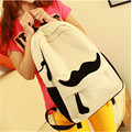 2017 New Fashion Women canvas Backpack With Lovely Mustache For Colleague Girls and Women's Backpack free shipping Hot Sale