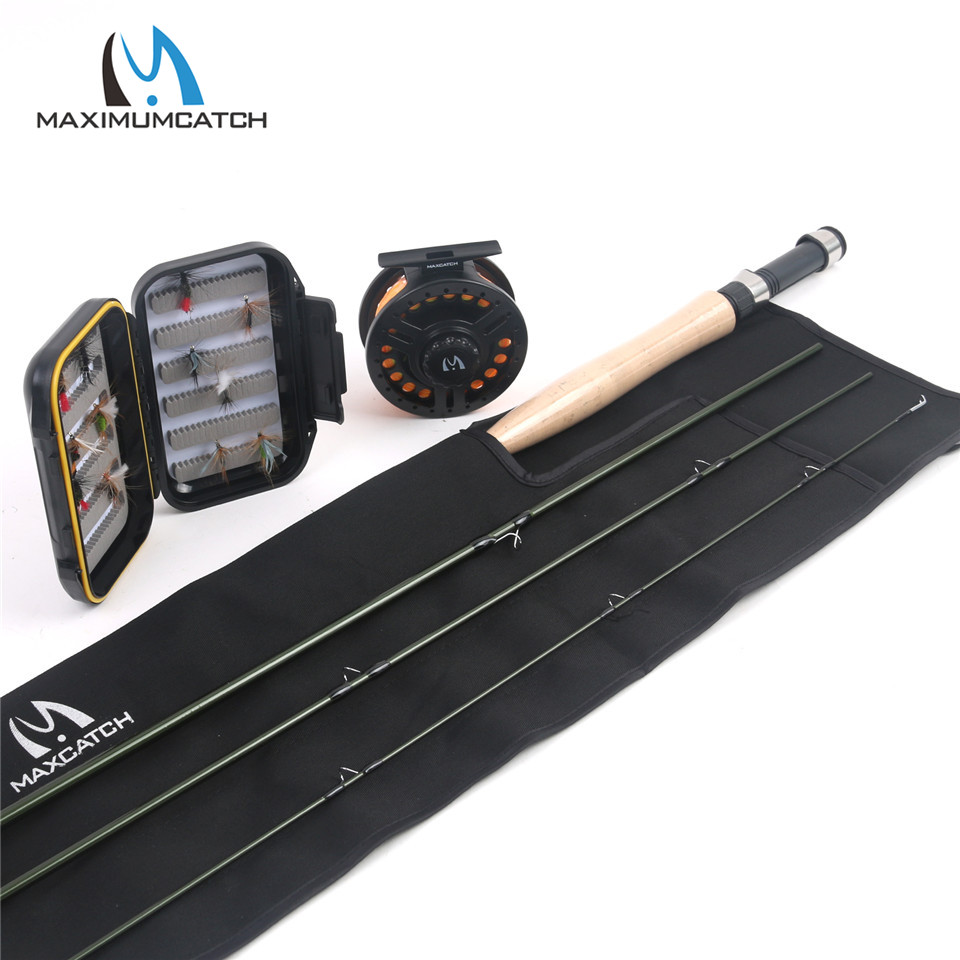 Maximumcatch New 5WT 4Pieces 9ft Fly Fishing Rod Carbon Fiber Fly Rod with 5/6wt reel and lines&box&flies Combo maximumcatch 5 6wt fly fishing combo 9ft fly rod and avid pre spooled reel outfit