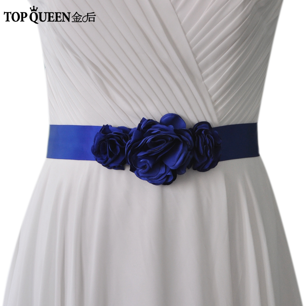 TOPQUEEN Royal Blue Bridesmaid Dresses For Women Wedding Flower Belt  Bridal Dress Belt Wedding Flower Belt Seven Colors S226