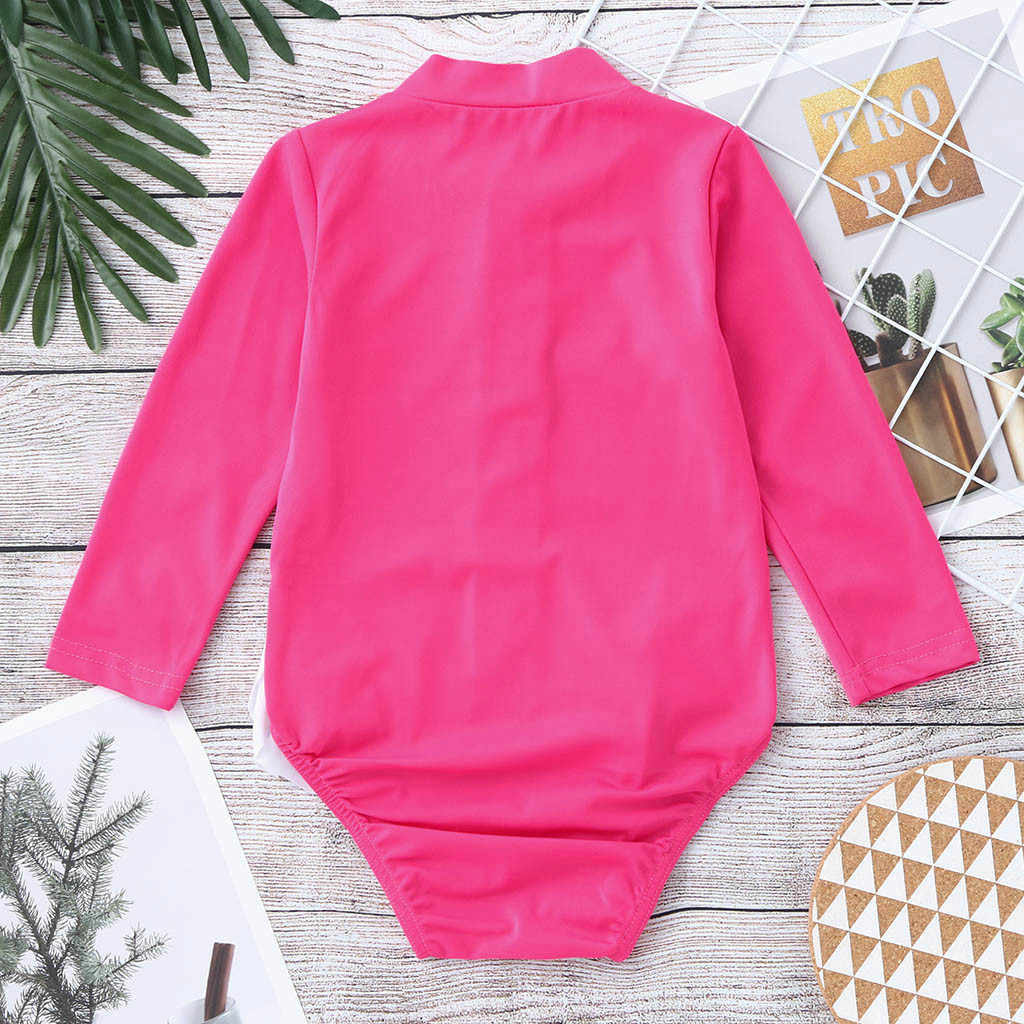 MUQGEW الرضع ملابس سباحة للأطفال الاطفال فتاة ملابس السباحة قطعة واحدة الكشكشة الكرتون Rashguard ملابس السباحة بيكيني roupa menina # y2