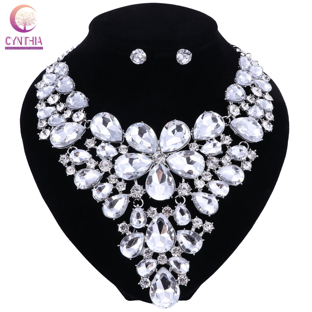 silver plated Ultra-luxury Bohemia Exaggerated Crystal Necklaces & Pendants Crystal Flower Statement Necklace earings For Women