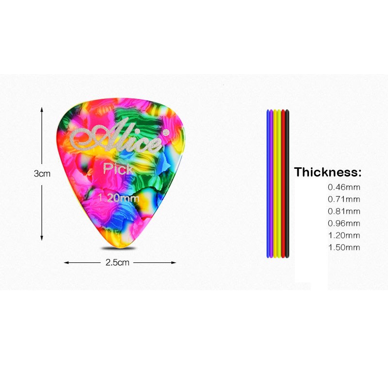 Купить с кэшбэком 100pcs Alice Celluloid Guitar Picks Plectrum Mediator Gauge 0.46/0.71/0.81/0.96/1.2/1.5mm Random Color Guitar Parts Accessories