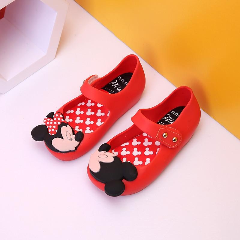 Mini Melissa Children Fashion Kids Casual Cartoon Minnie Dot Plaid Rivets Sneaker Clogs Mules Beach Girls Jelly Shoes Sandals 31