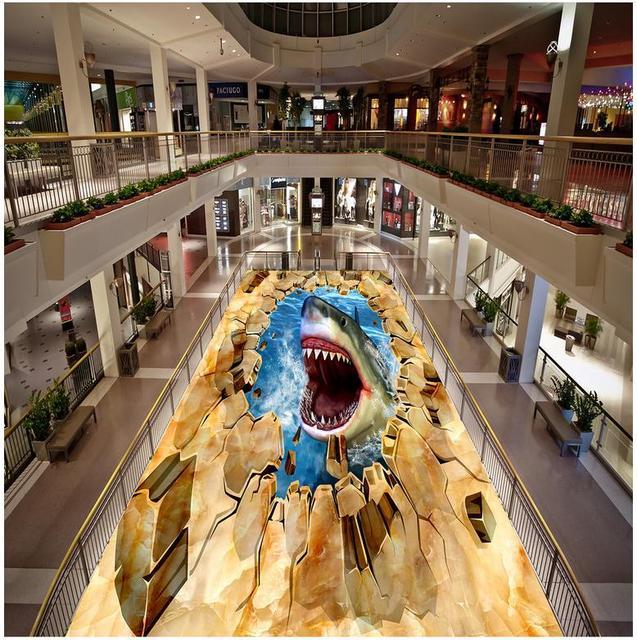 Современные пользовательские 3D пол Mural стереоскопического 3D Рисуем водой Акула ПВХ стены Бумага самоклеющиеся этаж росписи 3D стены бумага