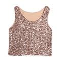 Women Clubwear Summer Vest Crop Tank Blouse Tee Sequin Sleeveless Party Bling Tops