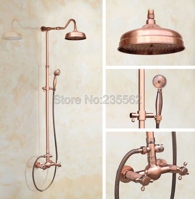 Rainfall Antique Red Copper Bathroom Bathroom Rain Shower Faucet Set Cold and Hot Water Shower Mixer Tap Wall Mounted lrg608 factory direct supply of stars hotel concealed embedded wall type cold and hot water shower function single copper body