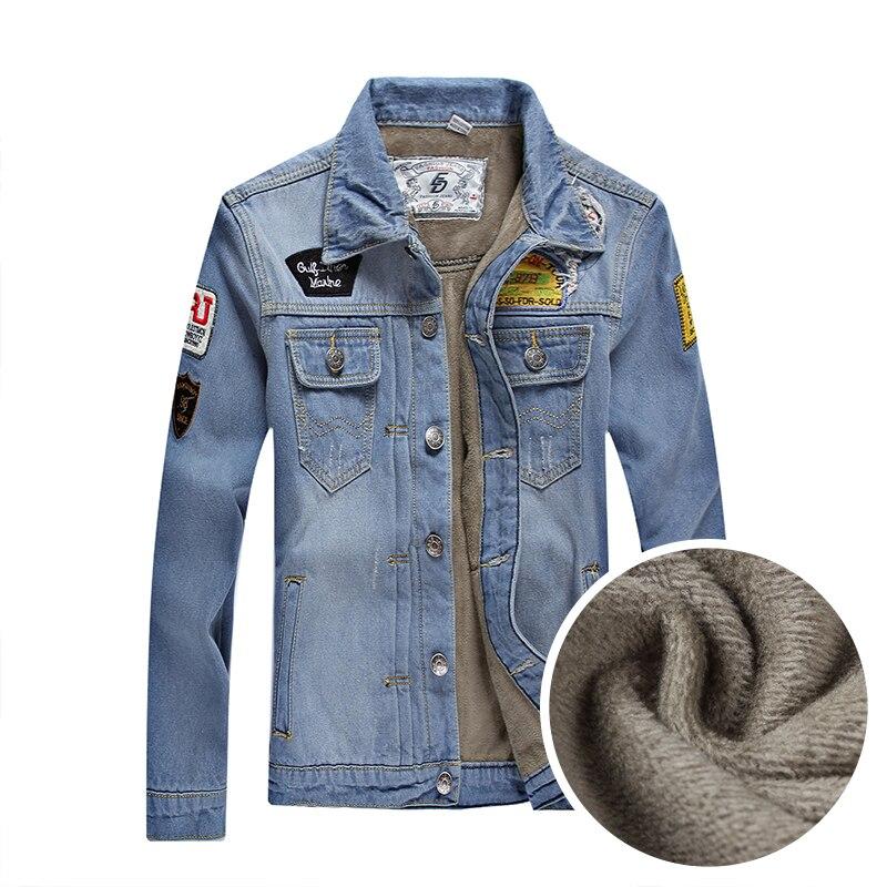 2015 Autumn Winter Men Denim Jacket Fashion Outerwear Coat Solid Casual Jacket For Men Thickening Plus