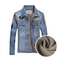 2015 Autumn Winter Men Denim Jacket Fashion Outerwear Coat Solid Casual Jacket For Men Thickening Plus