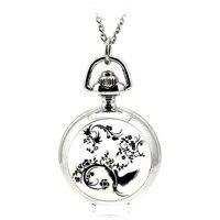 Модные Повседневные серебряные карманные & Брелок часы ожерелья Relogio де Bolso эмаль женские часы Феникс Тотем Леди подарок
