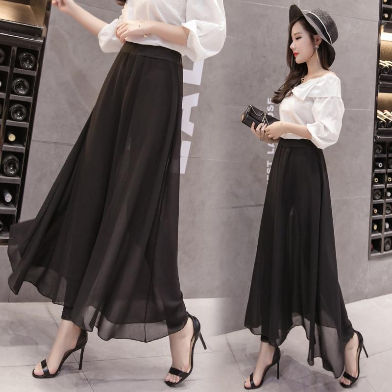 2019 Women Summer Loose Chiffon   Wide     Leg     Pants   Beach Holiday Boho Solid Color Large Plus Size High Waist   Pants   Trousers 5XL