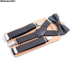 1 комплект для маленьких мальчиков подтяжки детские Новые эластичные регулируемые подтяжки с бабочкой набор детей в подтяжки в горошек для