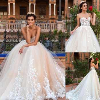 Sexy Sweetheart Wedding Dress 2019 Lace Appliqued Back Lace UP with Sweep Train Bridal Gowns Vestido de Noiva - Category 🛒 Weddings & Events