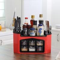 Kitchen Organizer Plastic Multifunctional Multiple Compartments Racks Seasoning Box Storage Shelf Seasoning Storage Box Tool