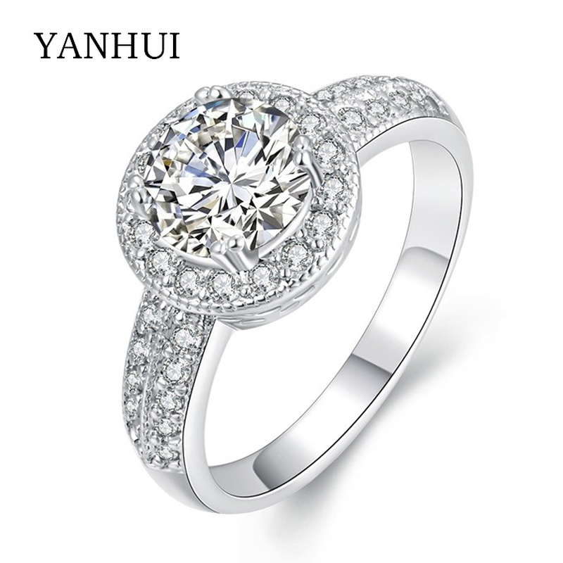 YANHUI New Fashion Rings Gold Color Engagement Ring Hearts and Arrows 1 Carat CZ Sona Zircon Wedding Rings For Women YAKR011