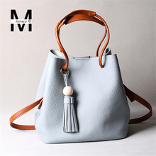 New Korean Fashion Tassels Bead Soft Litchi Cow Genuine Leather Bucket Bag Composit Bags For Women Tote Crossbody Shoulder Bags