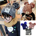 Fashion Labeling Knitted Hat Children Warm Caps Cute Crocheted Beanies children hairball boys girls casual chapeau
