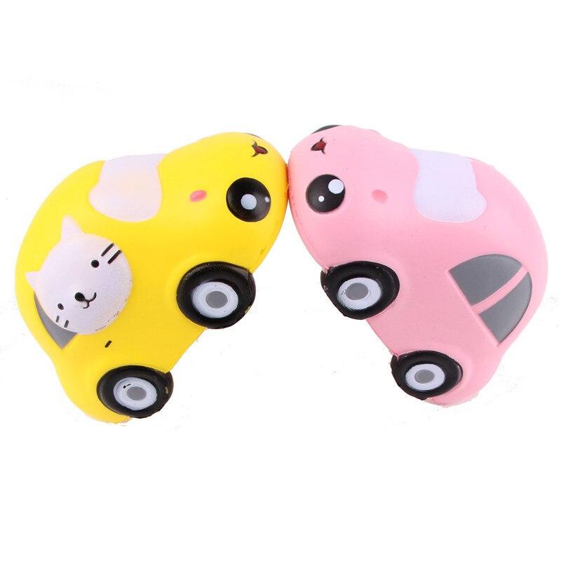 12 Pcs/Lot lente augmentation Squishy jouets Kitty chat voiture Jumbo Squishies paquet Original presser jouet amusant en gros nouveau 2018 rose jaune - 2