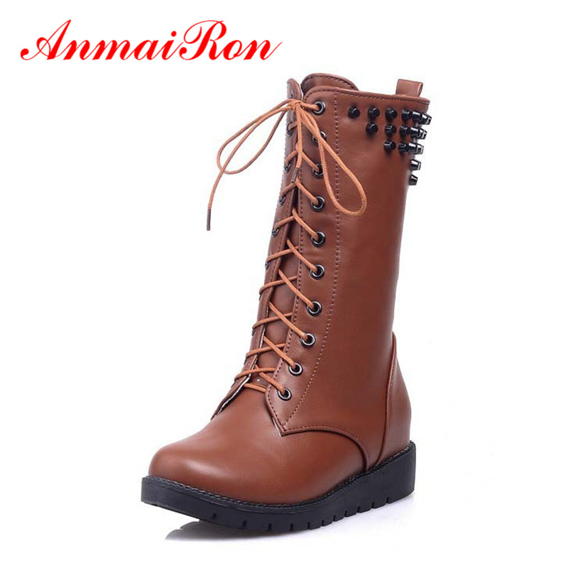 цены  ANMAIRON Women  Boots Round Toe Autumn Winter Fashion Sexy Black Shoes Women Martin boots Lace up Platform Boots for Women