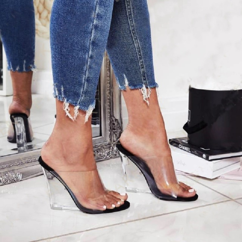 2019 Women 11.5cm High Heels Wedges Sandals Transparent Slides Fetish Summer Pumps Female Jelly Valentine Clear Heels Sandals