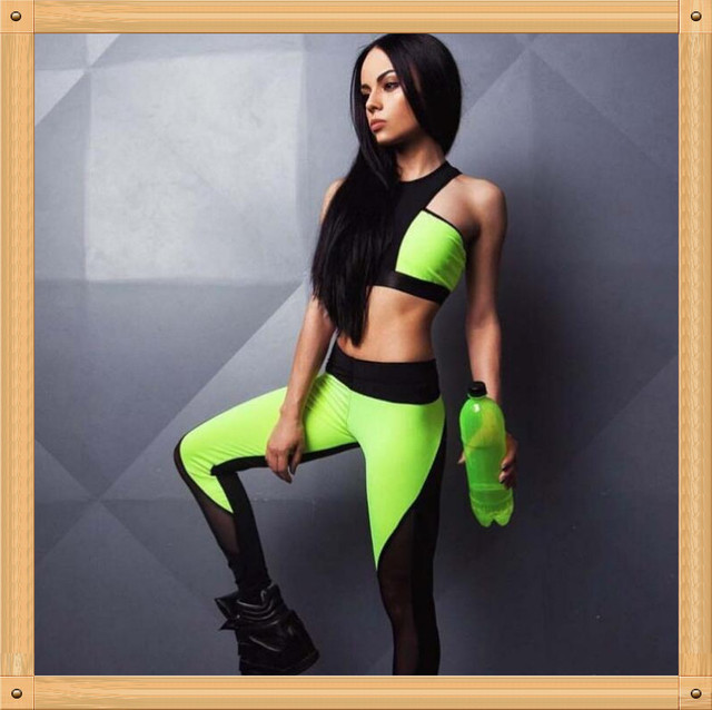 fc89f6e571f3f Quick dry mesh Neon green Halter sports bra high rise sports leggings two  piece workout Yoga