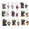 Funko Pop Super Hero Action Figure Toys Keychain Pendant Mini Spiderman Hulk Batman PVC dolls Keyring With Gift Box