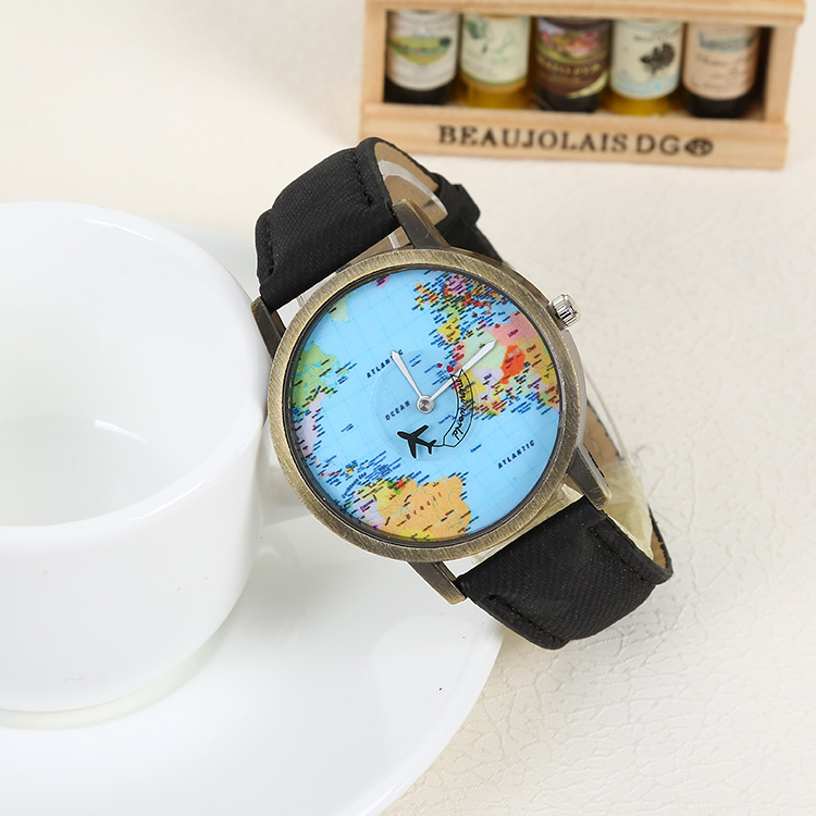 Women Dress Watches Vintage Men Travel By Plane Map Denim Fabric Band Watch funny pins simple watches best gift reloj hombre maisy goes by plane