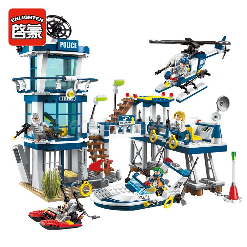 Enlighten Building Blocks 565Pcs City Police Series Rescue Plan Yacht Helicopter Model Building Block Bricks Toys For Kids Gifts police station swat hotel police doll military series 3d model building blocks construction eductional bricks building block set