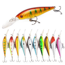 10Pcs/lot 11cm 9.5g 3D Eyes Lifelike Minnow Hard Bait With 2 Treble Hook Fishing Lures For Ocean River Pesca