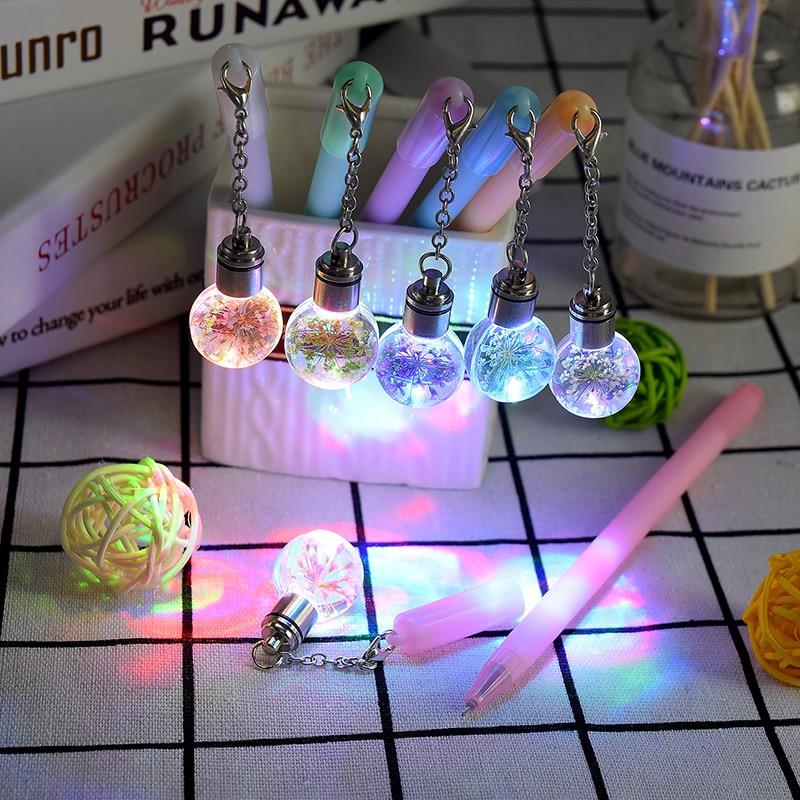 Cute Colorful Flowers Creative Novelty Light Bulb Pendant Gel Pen Beautiful Signature Pen School Office Stationery Supply