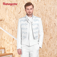 Hanayome Men's 3 Pieces Suits Tail Coat 2017 Designer Formal Blazer Suit Set with Embroidery (Jacket+Waistcoat+Trousers) SI95