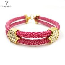 Classic Stingray Leather Bracelets For Women Charm Luxury Stingray Bracelet With Stainless Steel Hardware For Watch Bijoux