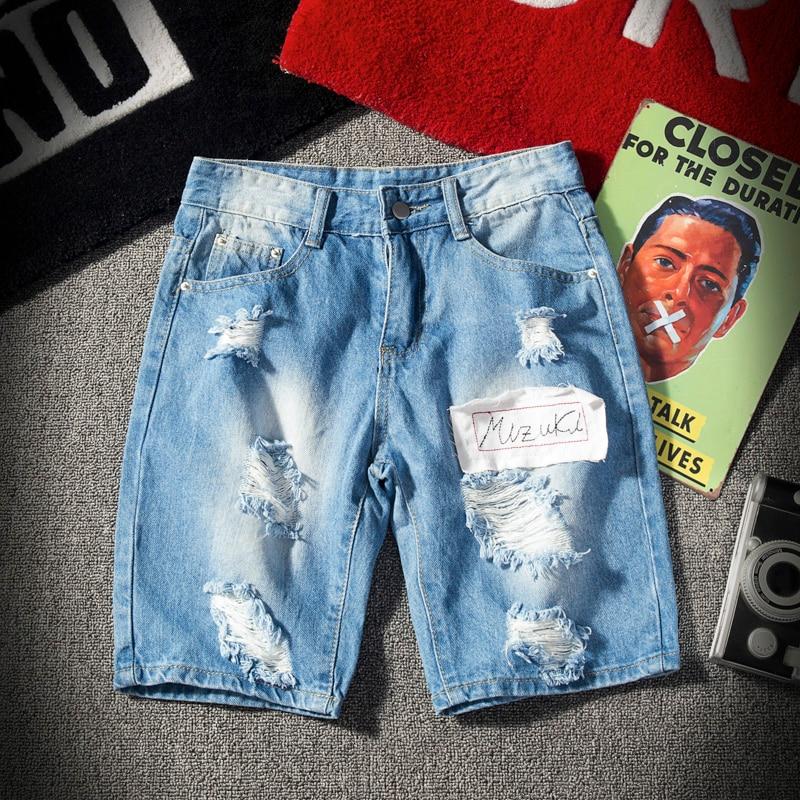 Short Jeans Men Summer Straight Mid Cotton Retro Holes Cowboy Short Men  Brand High Quality Breathable Denim Shorts Mermuda