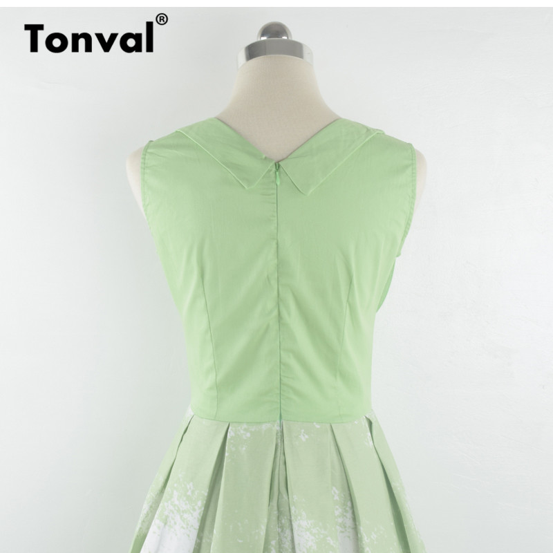 eaf602f484 ... Tonval Vintage Pleated Green Dress Mountain Print Christmas Party Women  Midi Dress V Neck Sexy Rockabilly ...
