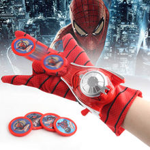 Amazing Spider-Man Gloves Wrist Disc Shooter Saucer Launcher Hero Cartoon Toy Model Children Dress Up Cosplay Gifts(China)