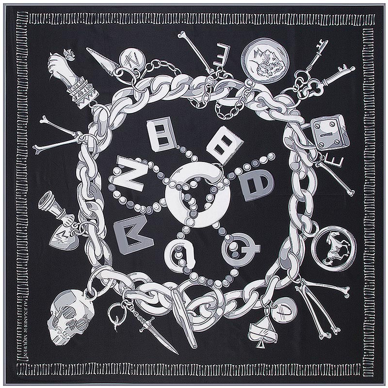 Chain Women Shawl Hijab Square Scarf Designer Scarves Letter Twill Print Large High-Quality