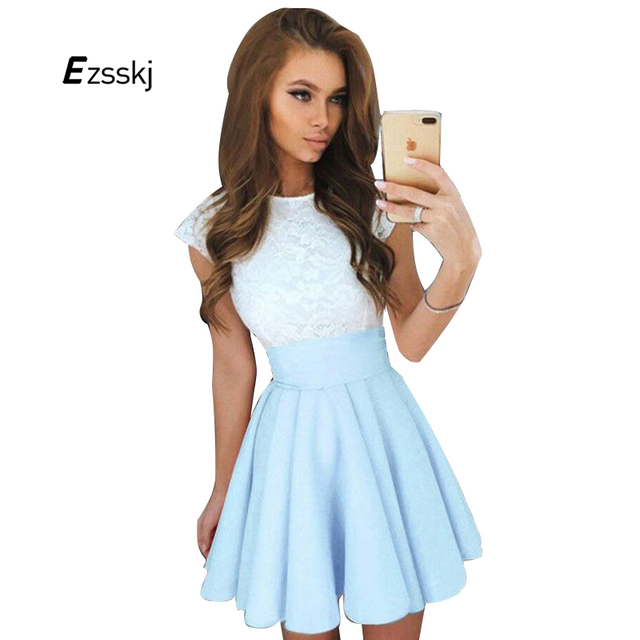 9b5263ea636 Empire Bow Cute Lace Dress Women Summer Style O Neck A line Pleated Vintage  Dress Fashion