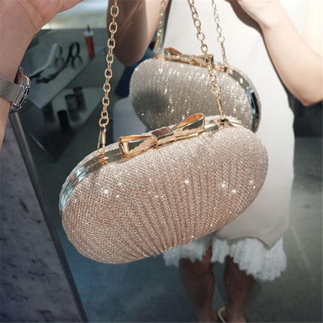 Fashion Gold Box Women Clutch Handbag Lady Pouch Purse Bag with Shoulder Chain Evening Bag